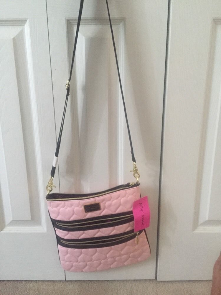 BETSEY JOHNSON Pink Heart Cross body Messenger Bag New With Tags #BetseyJohnson #MessengerCrossBody