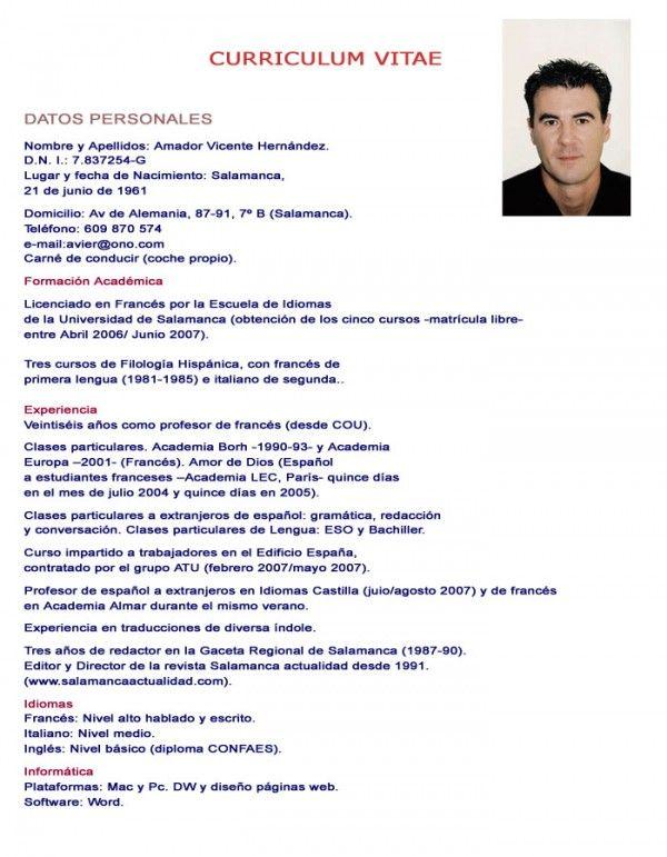 Curriculum Vitae Ejemplos Empleo Pinterest Curriculum Hacer