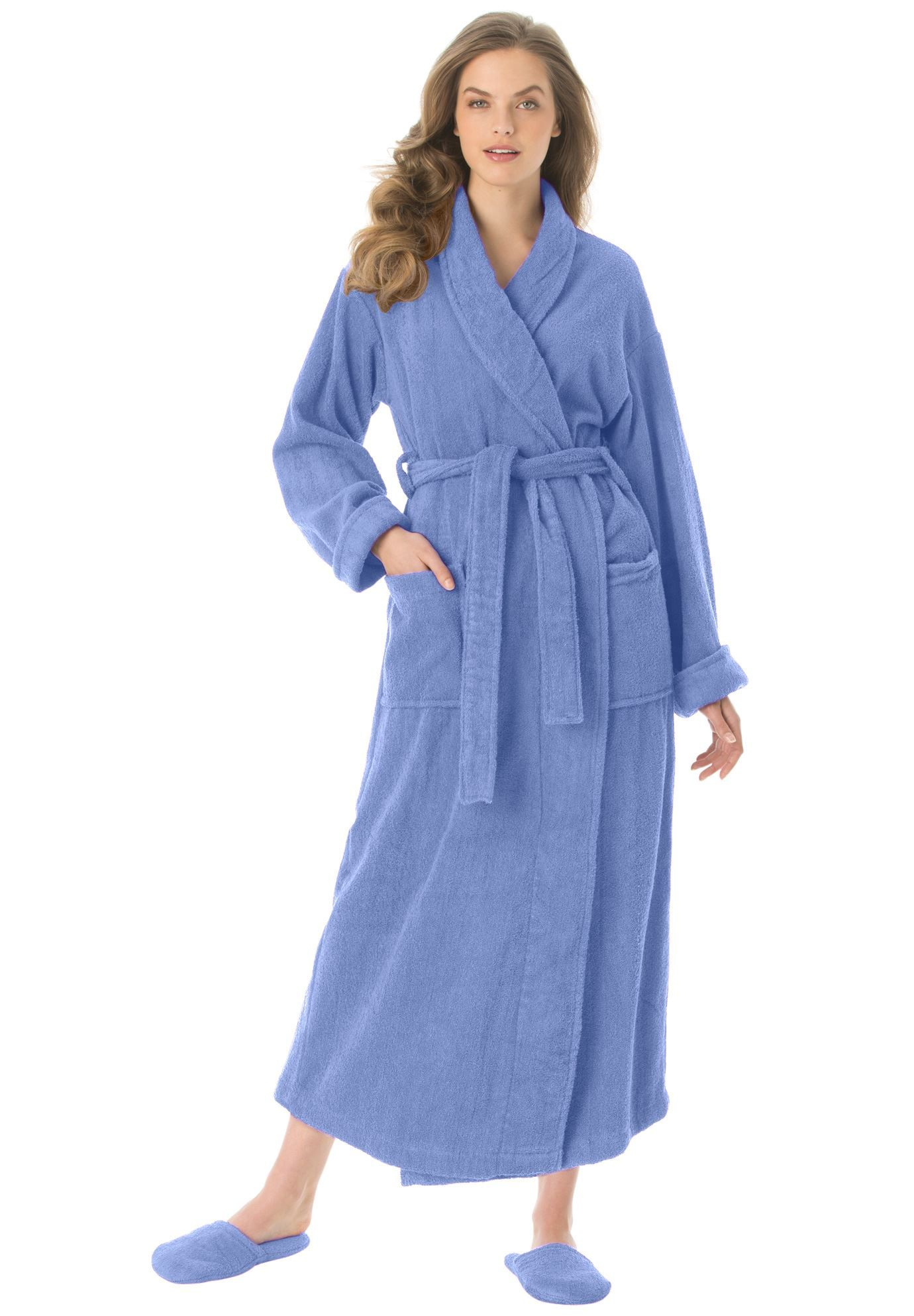 Plus size long terry robe with free matching slippers clothes jpg 1380x1986 Womens  plus size terry 43840af57