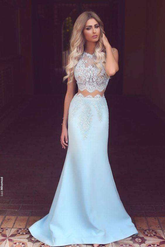 Two Pieces Prom Dress, Light Blue Prom Dresses, Graduation Dresses ...