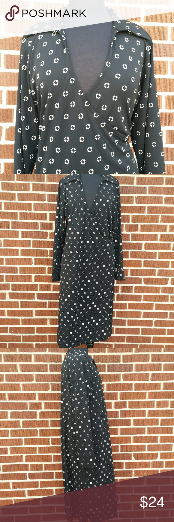 Evanpicone woman faux wrap dress missing belt x midi length black