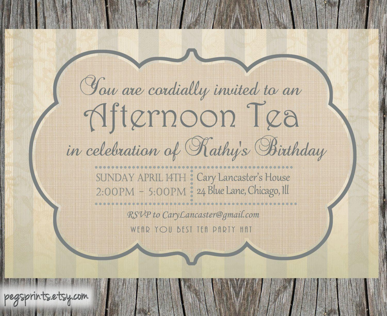 tea party menu template - high tea invitation template party idees pinterest