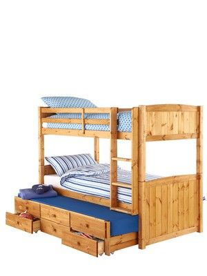Kidspace Georgie Solid Pine Bunk Bed Frame with Storage and Guest ...