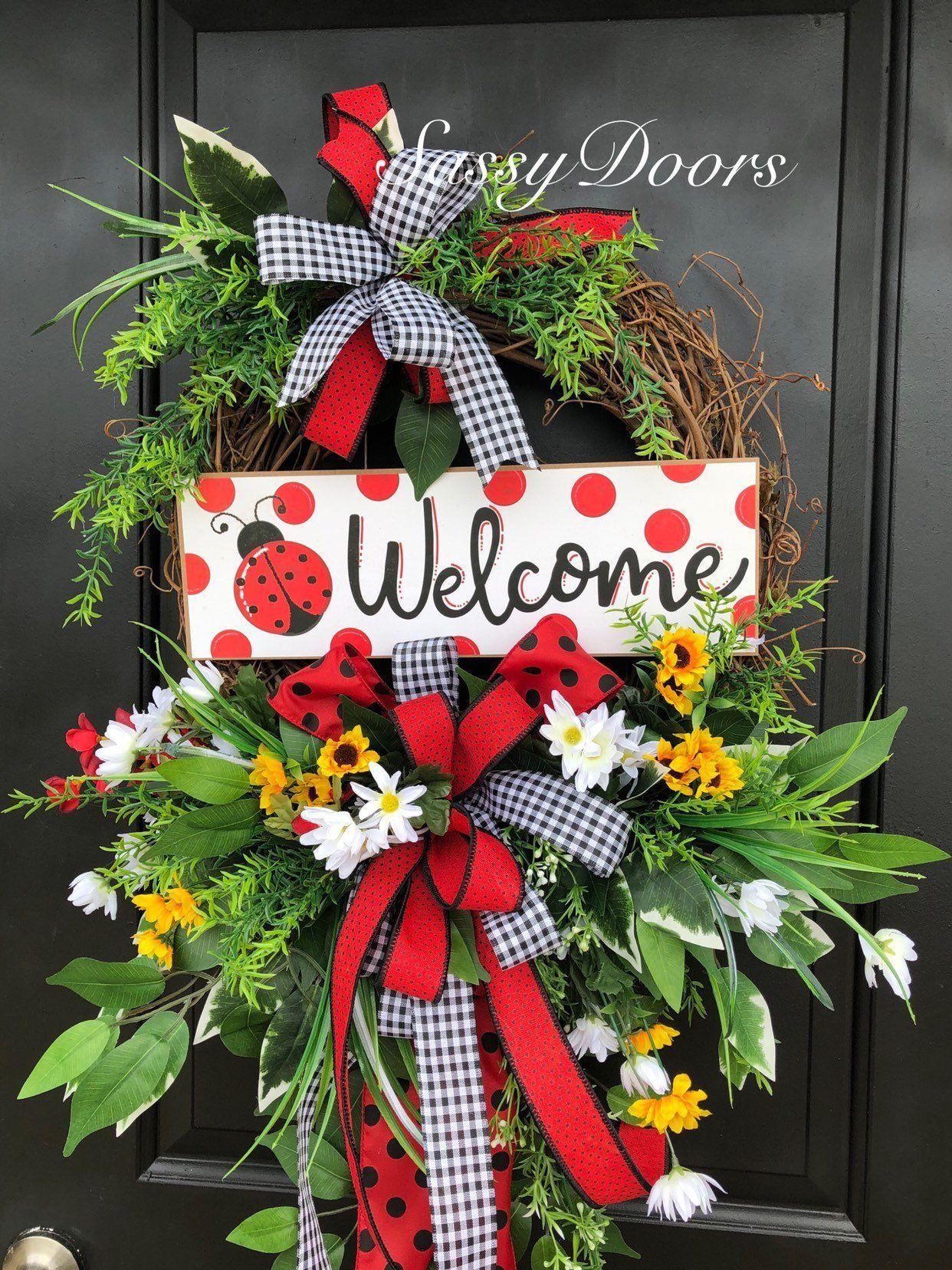 Photo of Lady Bug Wreath , Farmhouse Decor, SummerWreath, Sunflower Wreath,Sassy Doors Wreath,Grapevine Wreath, Front Door Wreath, Welcome Wreath
