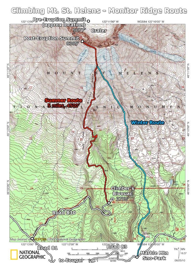 Mt St Helens Washington Map.Mt St Helens Monitor Ridge Trail Monitor Ridge Route Topo St
