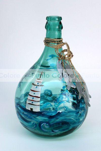 Damigiana decorata damigiane e bottiglie pinterest - Bottiglie vetro decorate ...