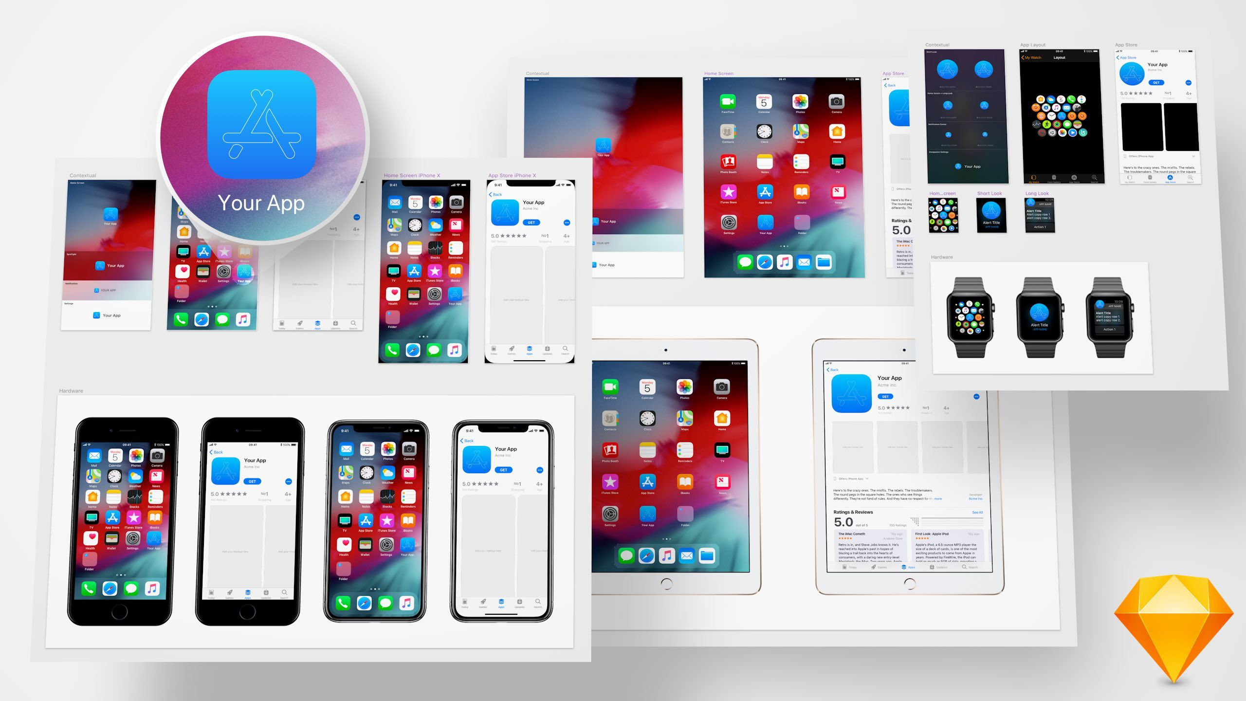 >Meticulously crafted icon template for iPhone, iPhone X
