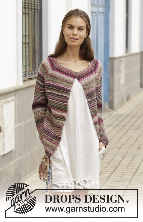 Knitted Jacket With Garter Stitch And Raglan Worked Top Down Sizes