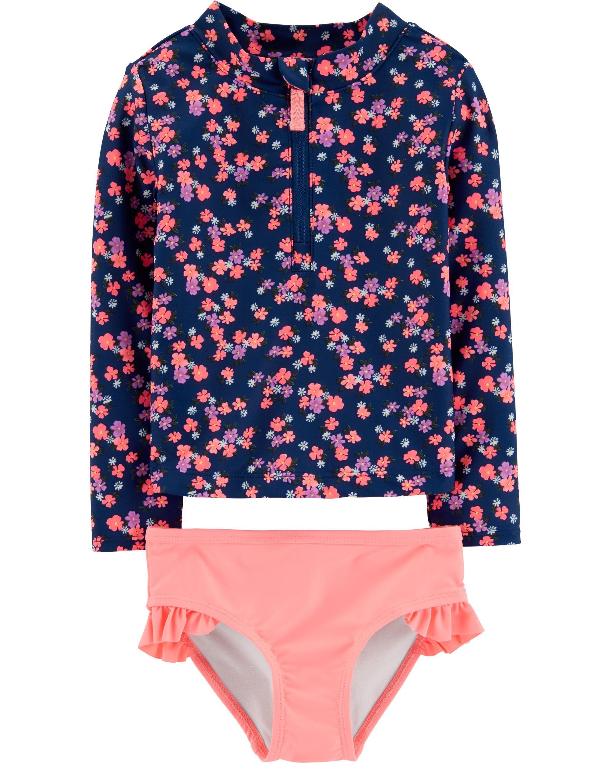d61d3b0db5cd9 2-Piece Floral UV Swim Shirt Set