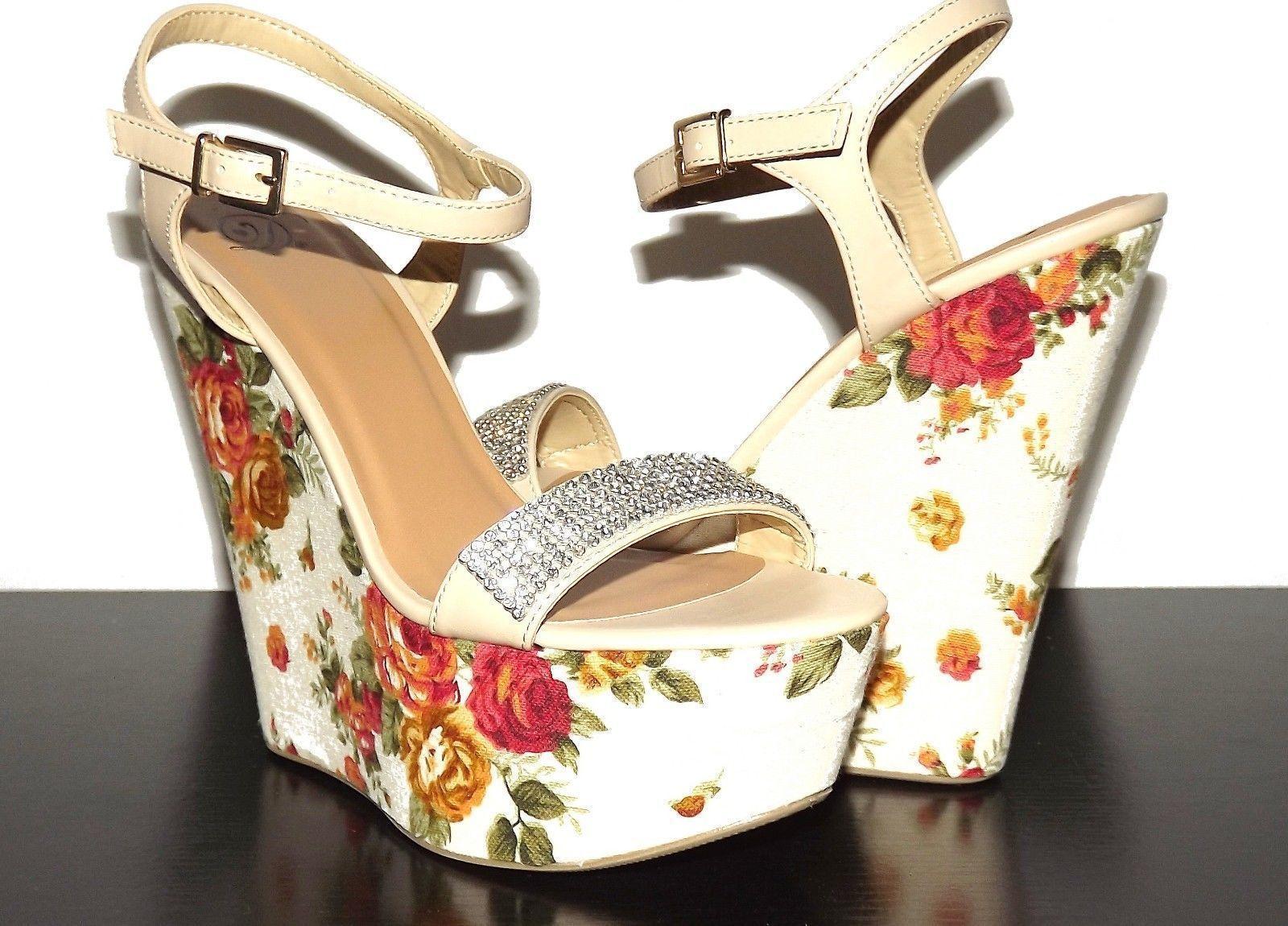Floral Platform High Heel Wedge Bling Thin Ankle Strap Tan Beige Nude Ellen-H