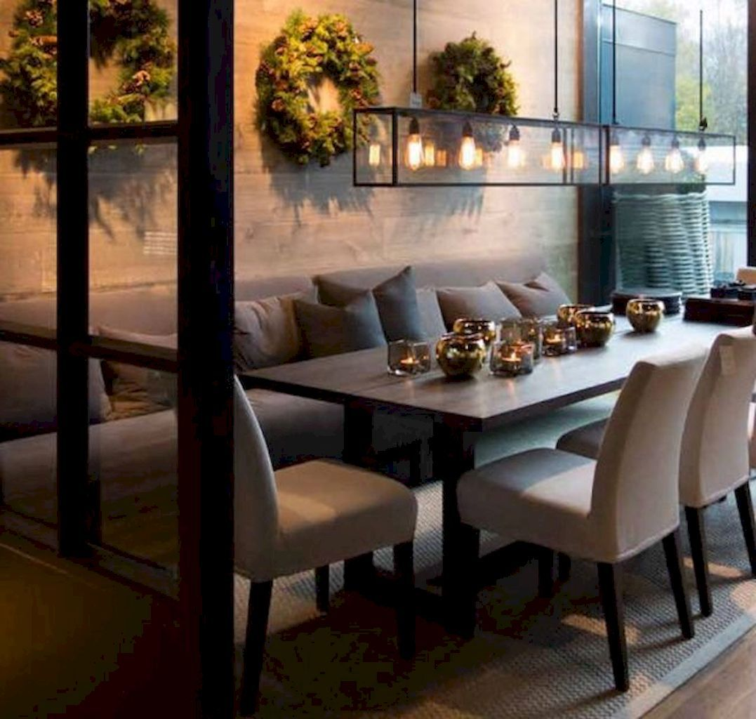 I Want A Cozy Dining Room Like This, Like A Booth With Warm Lighting