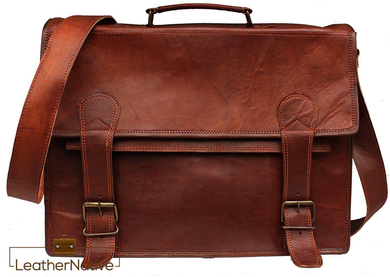 Men Genuine Leather Vintage flap Laptop Messenger Handmade Briefcase Bag Satchel
