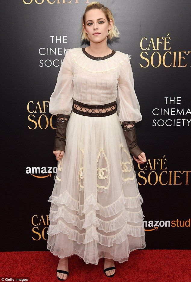 Ladylike: The film's leading lady Kristen Stewart unleashed her inner Guinevere in this stunning lace gown