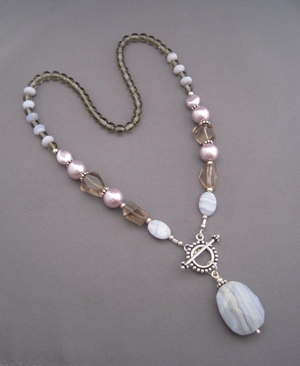 Purple mist necklace blue lace agate smoky quartz glass pearls purple mist necklace idea for using my fancy gold toggle audiocablefo