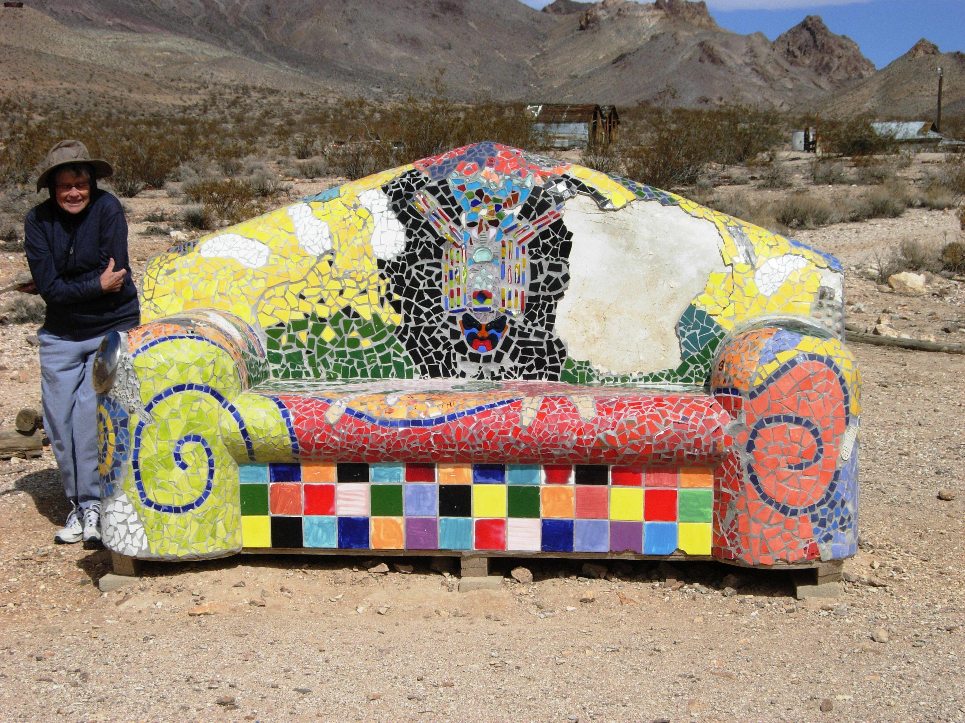 Overstuffed mosaic sofa at Goldwell Open Air Museum near