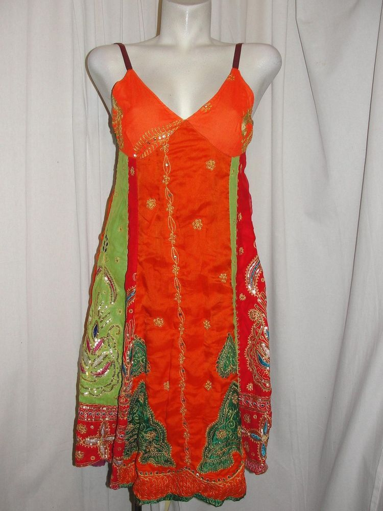 Synergy Dress Made In India Colorful Rayon Sequin Embroidery V Neck Rear Zip L Teadress Festive
