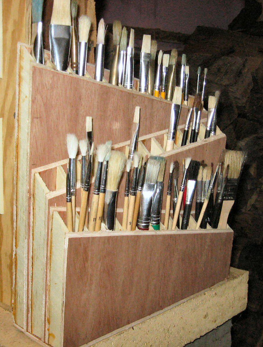 paintbrush holder he made Art studio storage, Art studio