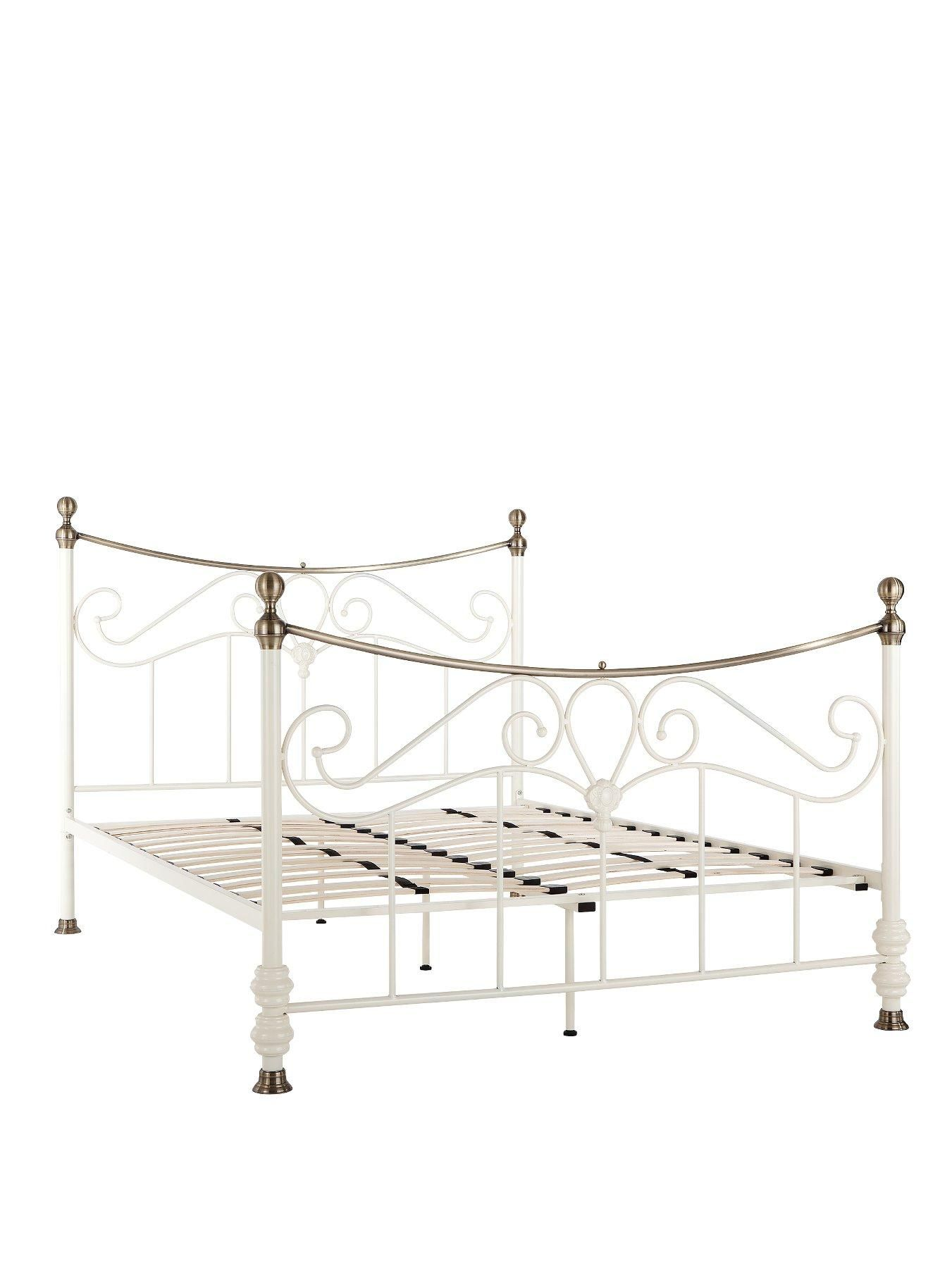 Lytham Metal Double Bed Frame In Cream Gloss This Vintage Style Has A Breathtaking Ornate Design To The Head And Foot Ends
