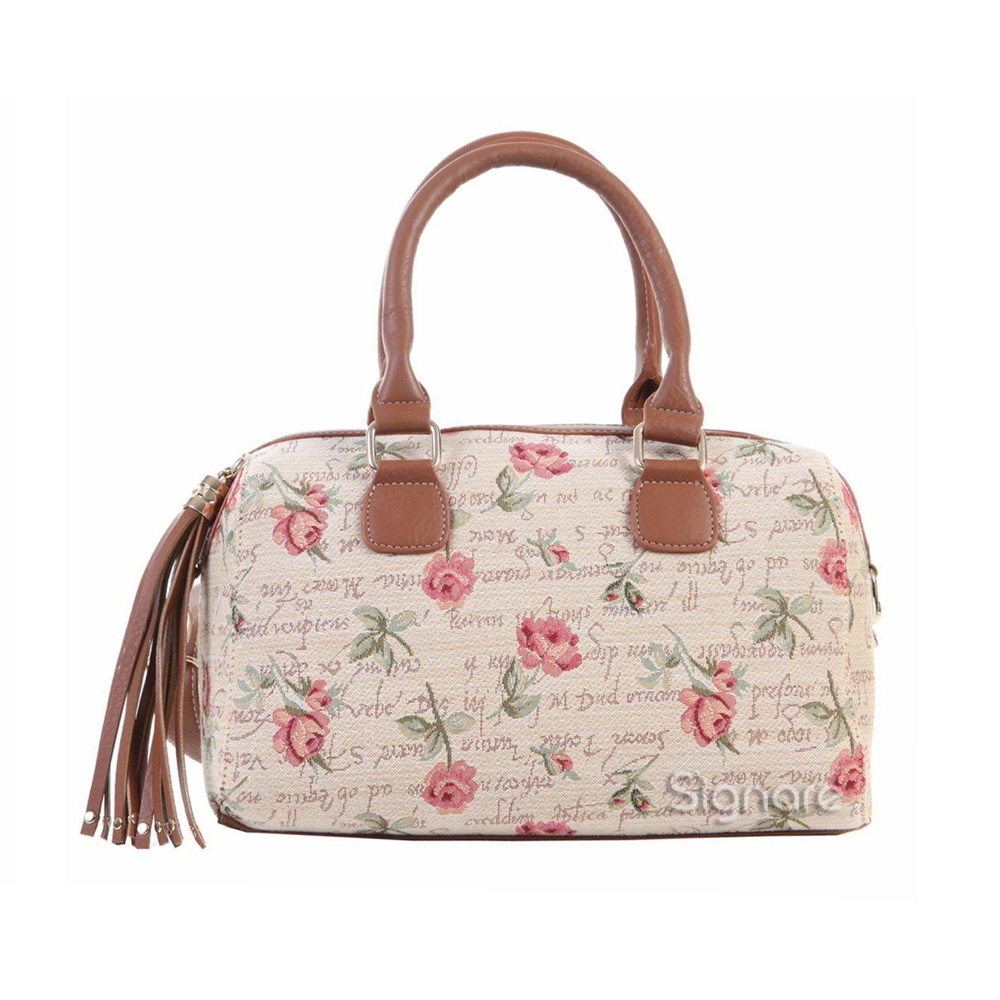 Borsa donna Signare alla moda a spalla in tessuto stile arazzo con nappa e maniglia superiore Rosa Rosa: Amazon.it: Valigeria