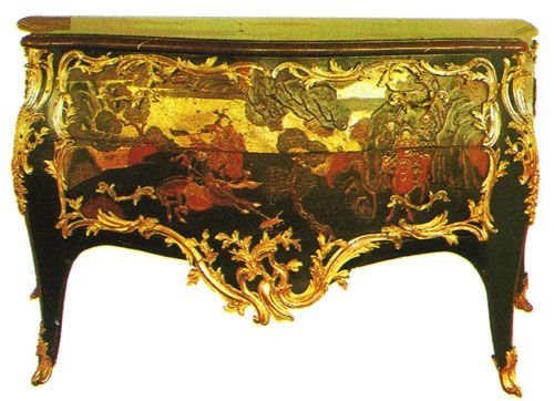 J. Demoulin, commode, c. 1760. The dimensions and the sinuous curves of  this item are typical of rocaille taste.  The front is lavishly decorated with Oriental, lacquered scenes and  the asymmetrical gilt-bronze ornamentation is fantastical.
