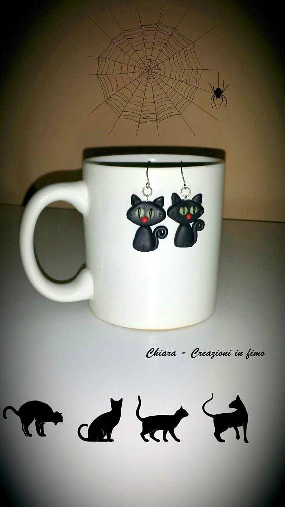 Black Cats Earrings In Polymer Clay Halloween Gift For Daughter