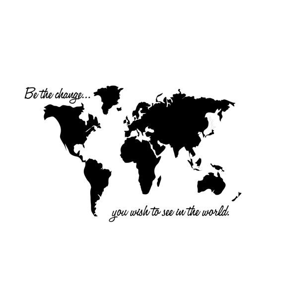 BE THE CHANGE World Map Wall Decal 28 X 45 by madhattergraphics, $35.00