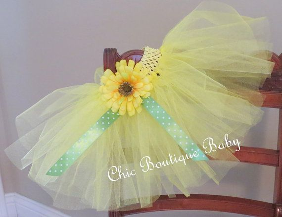 Yellow Tutu with Yellow Daisy Flower for by ChicBoutiqueBaby, $15.00