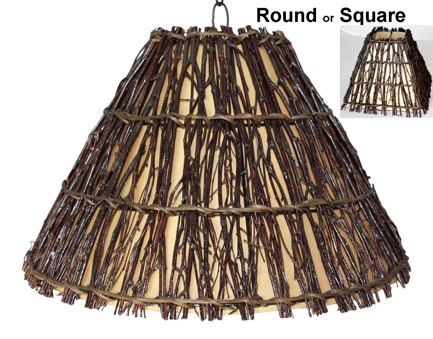 Rustic Tree Wood Twig Swag Lamp Plug In or Direct Wire Pendant Light ... for Square Wood Lamp Shade  303mzq