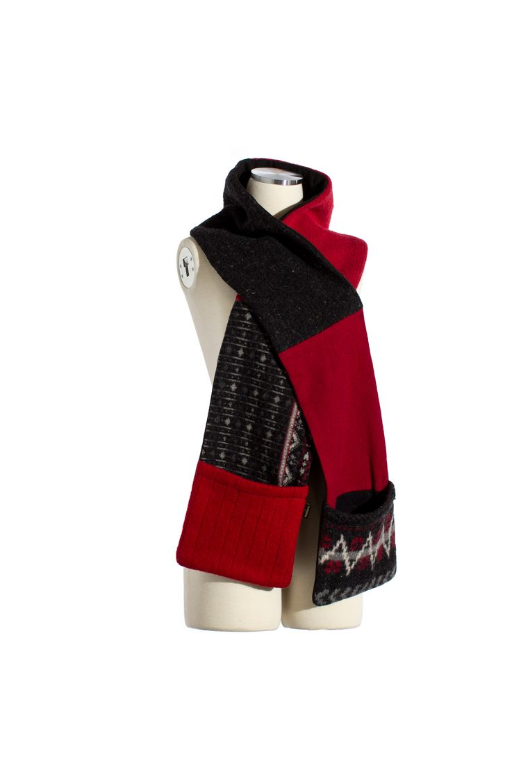 Black Red Patterned Pocket Scarf Pocket Scarves Winter Accessories Fashion Upcycle Sweater