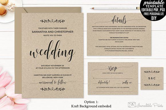 kraft paper wedding invitation set creativework247 templates