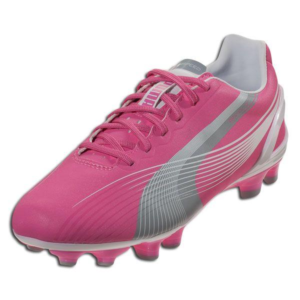 PUMA Women's evoSPEED 3 FG - Azalea Pink/White/Limestone Gray Firm Ground Soccer Shoes