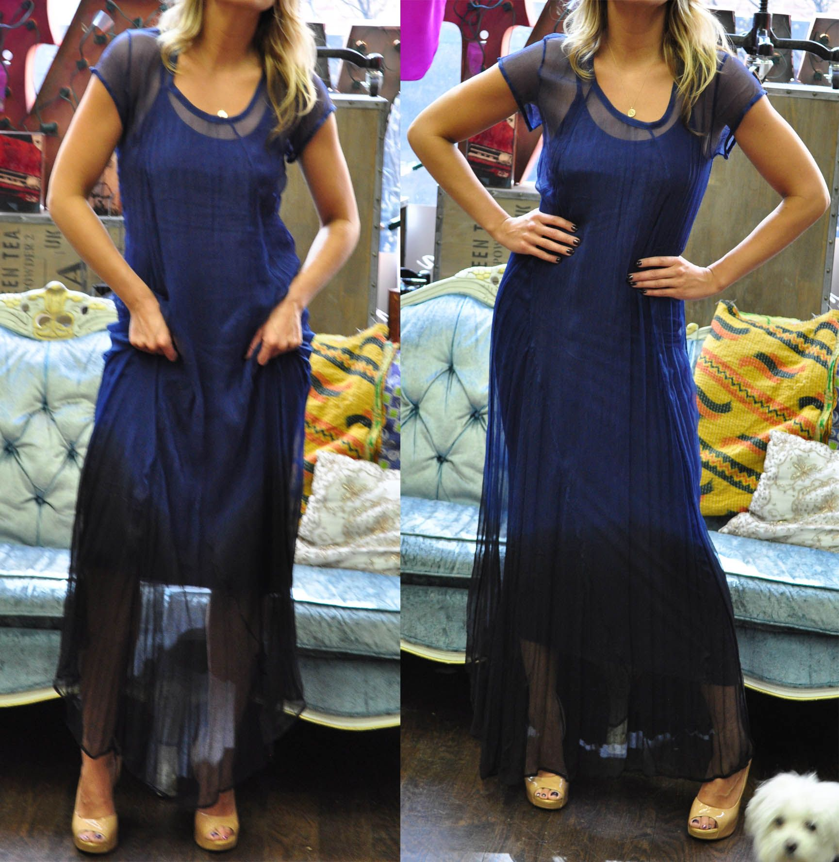 Beautiful blue to black sheer dress shop all the diana warner