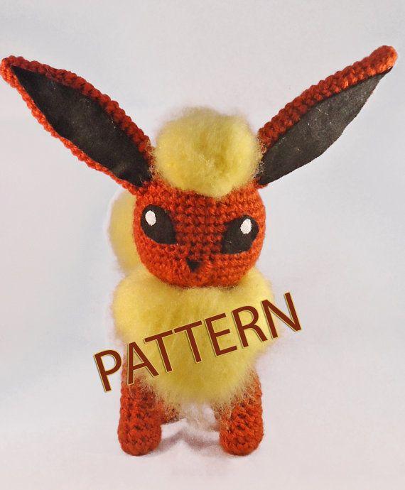Pdf Crochet Pattern Pokemon Flareon Inspired Amigurumi Pokemon