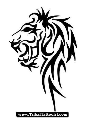 4903eb6ea0c2e lion of judah tribal tattoo | lion outline tattoo | signs | Tribal ...