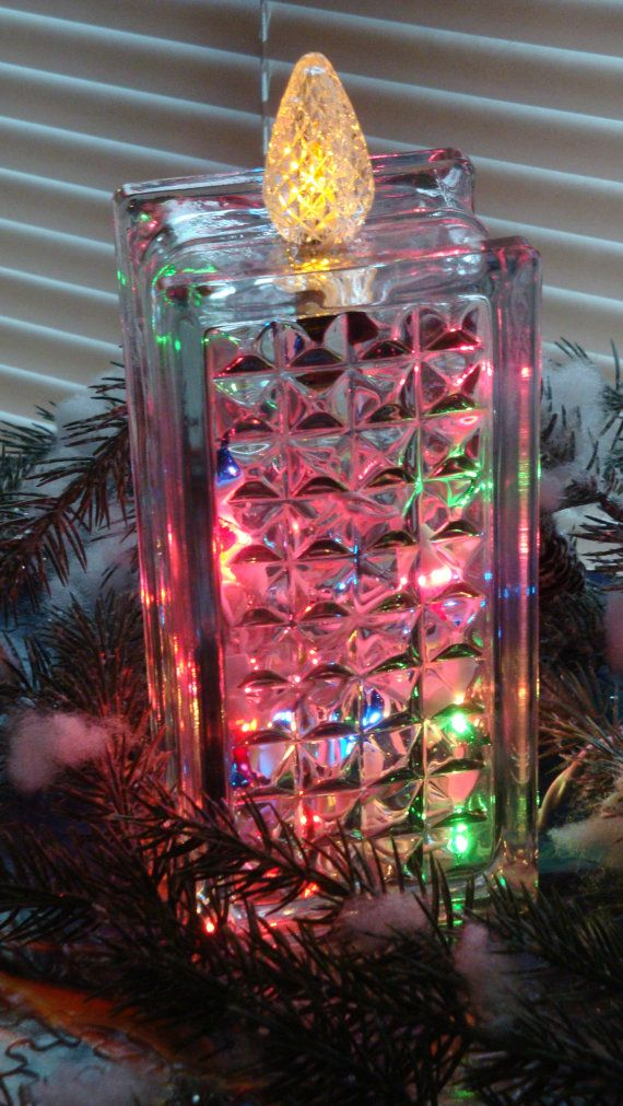 christmas glass block candle - Glass Block Christmas Decorations