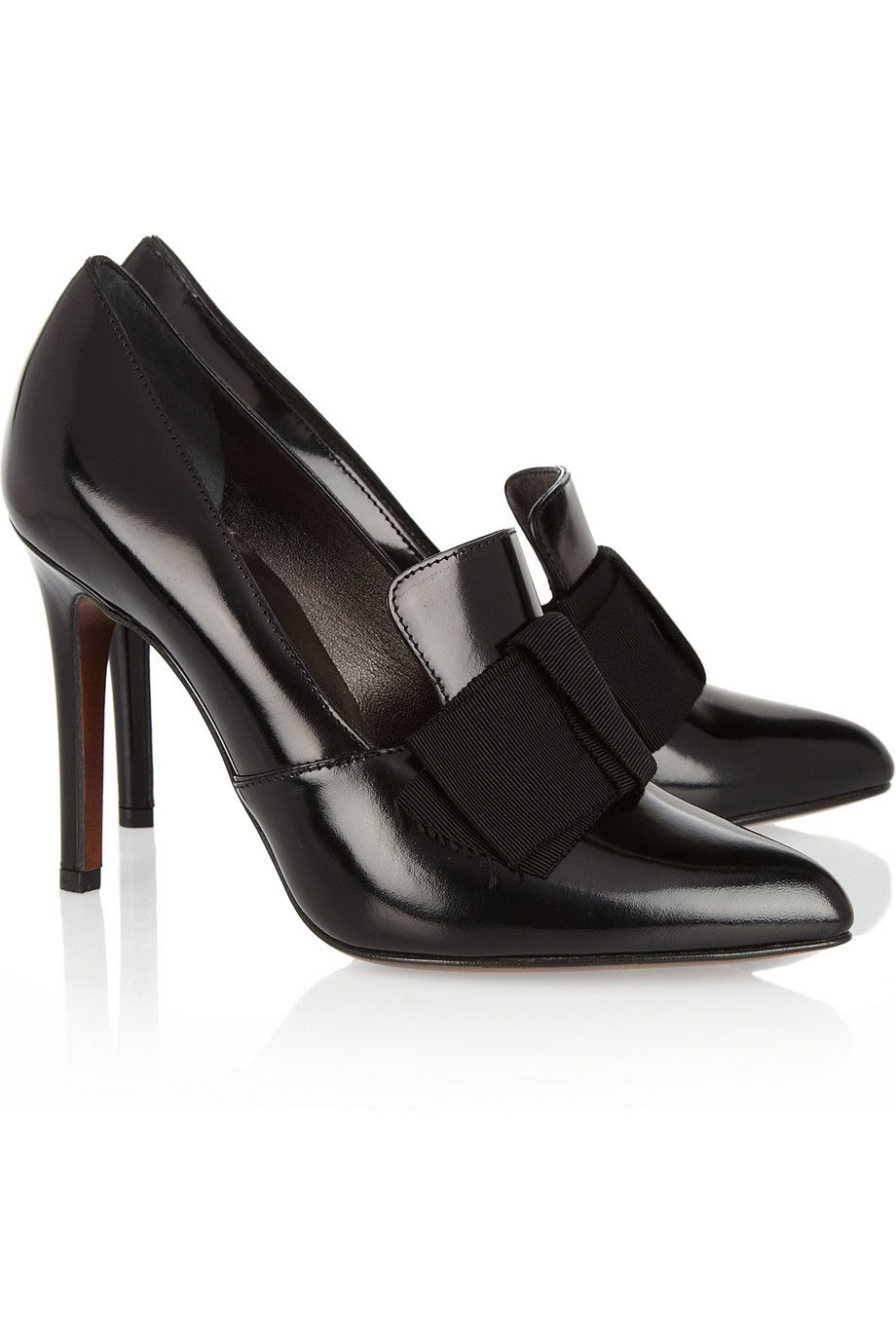 Lanvin|Glossed black leather loafer-style pumpes #shoes