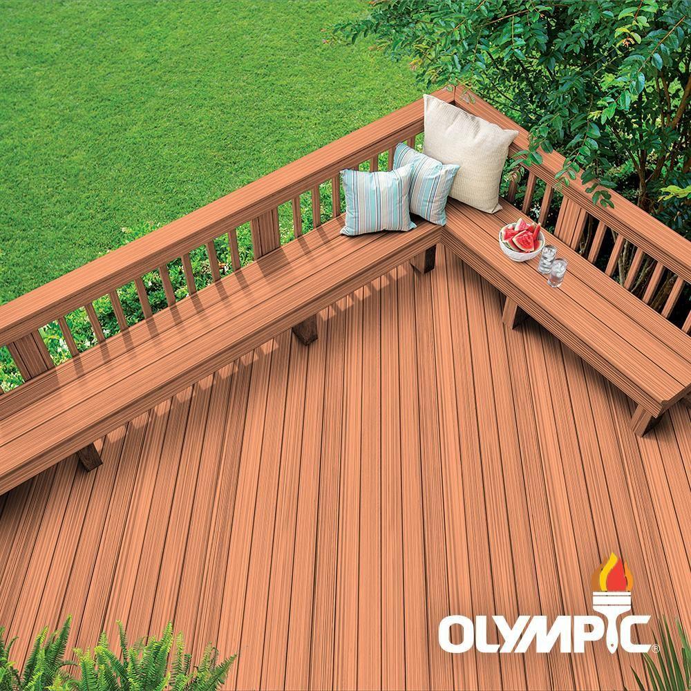 Olympic Maximum 5 Gal Redwood Semi Transparent Exterior Stain And