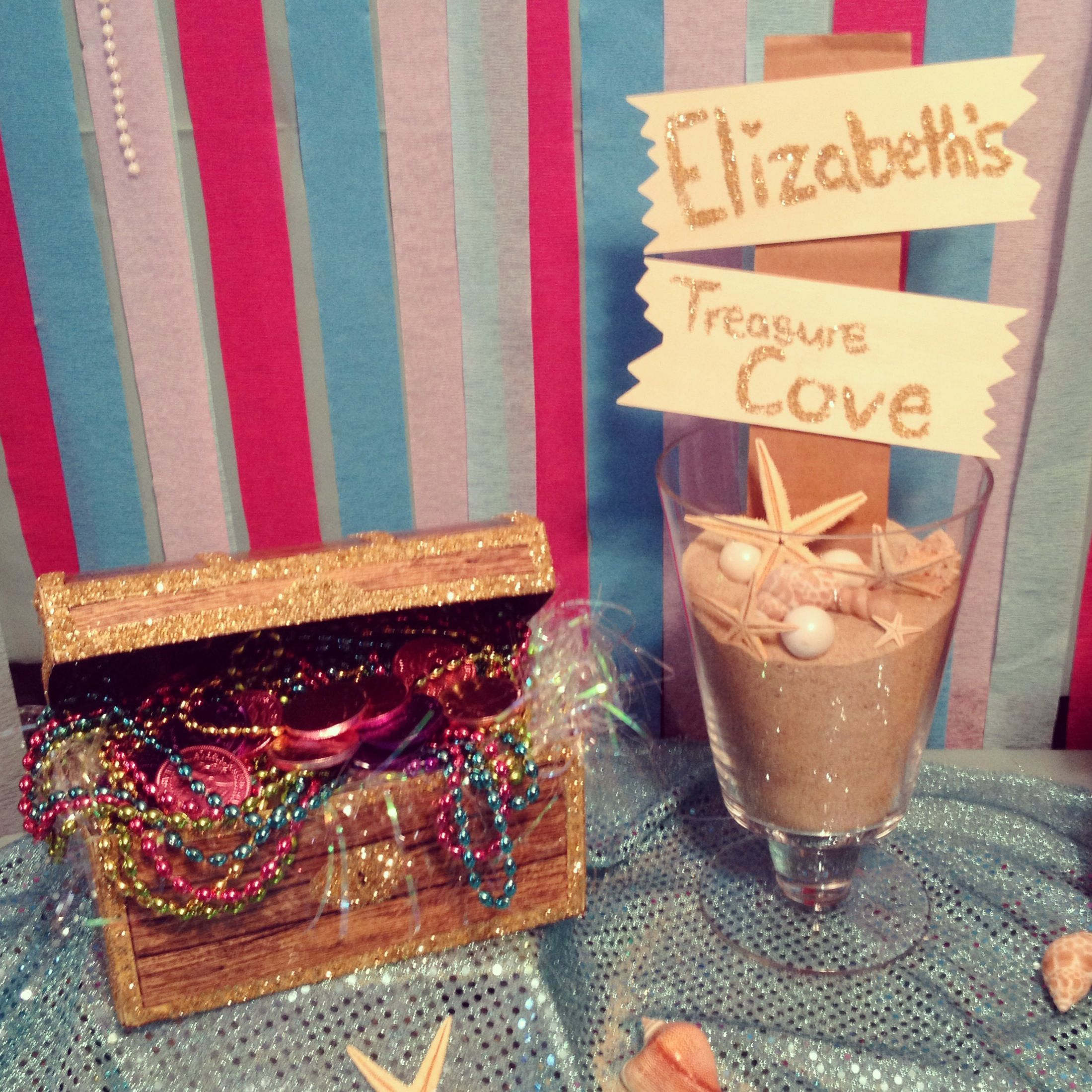 Treasure chest and custom sign for the dessert table
