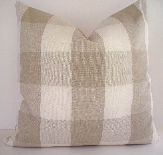 Ballard Designs Pillow Taupe Buffalo Check Cover Both Sides