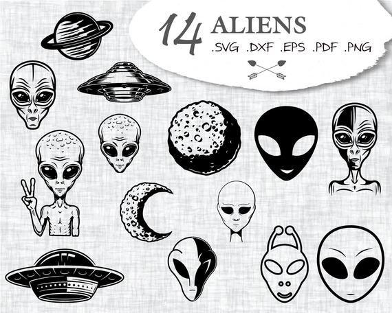 Photo of ALIENS SVG, alien svg, ufo svg, alien clipart, spaceship svg, alien, alien silhouette, alien cut file, alien vector, alien head, alien ufo