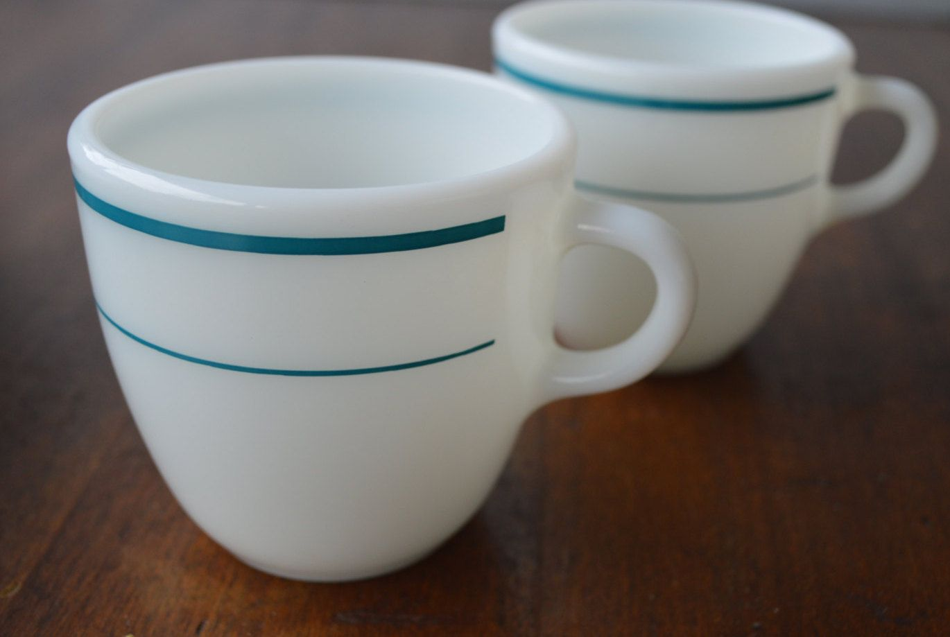 Two Vintage Pyrex Mug Teal Double Band Stripe Tableware Corning Cup Restaurant Diner Style By Retrorrific On Etsy
