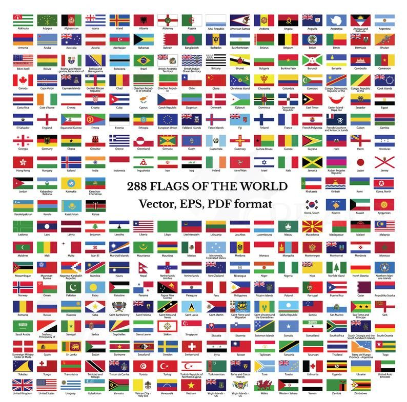 Flags Collection Of The World Clip Art All Countries And Unions Printable Flags With Names Eps Illustrator And Pdf Files National Flags In 2020 Flags Of The World World Flags Printable