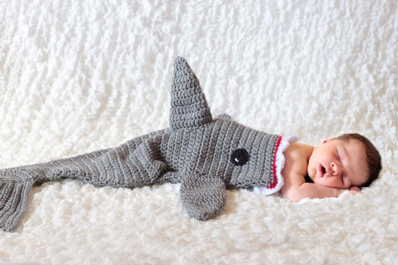 Shark Blanket Cocoon, Crochet Shark Blanket, Shark Baby Cocoon ...