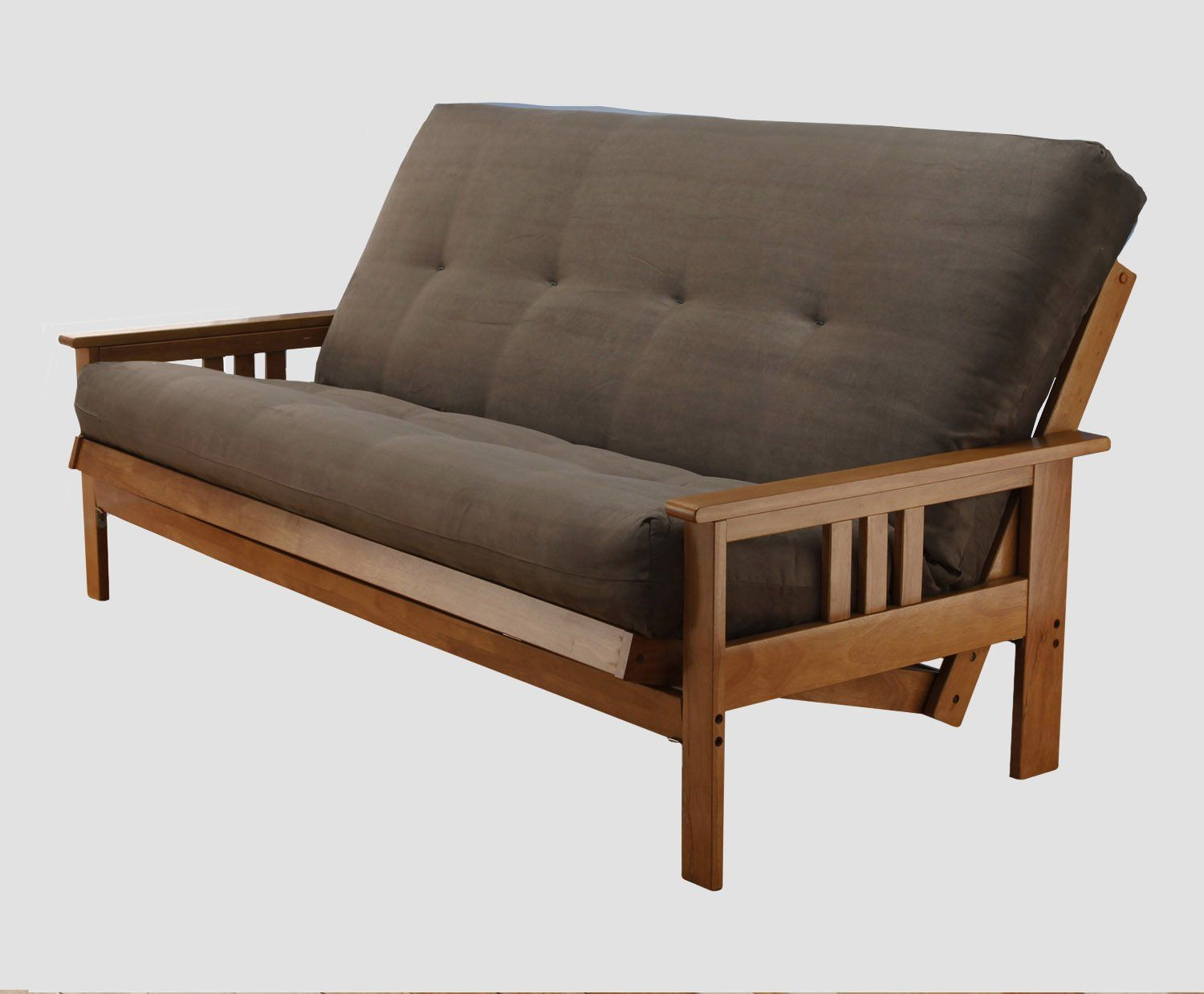 Suede Gray Mona Queen Futon Frame In Ernut Mattress You Can Find