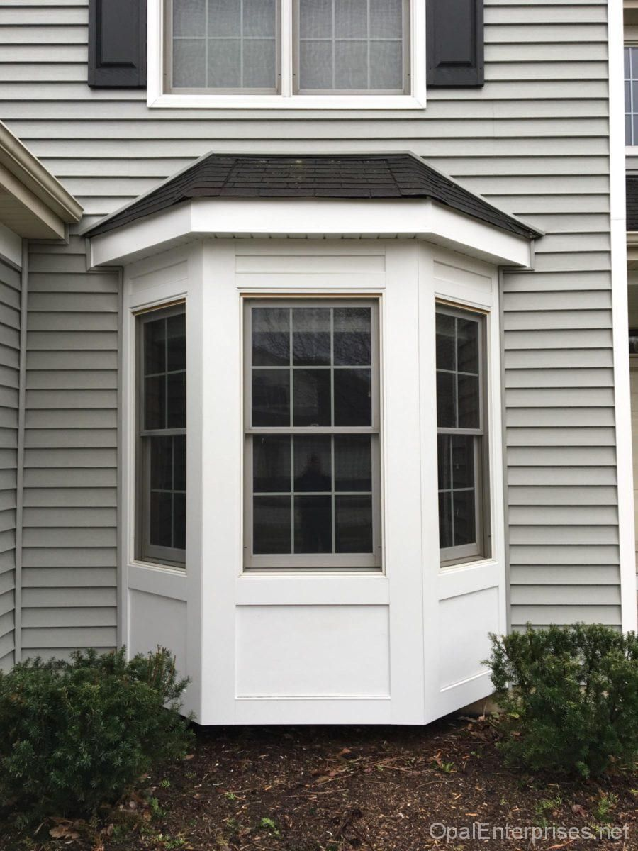 bay window area with fiber cement panels and trim ...