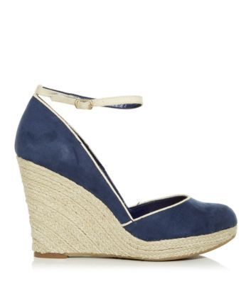 cb72841feee Wide Fit Navy Contrast Ankle Strap Espadrille Wedges | Wedding Day ...