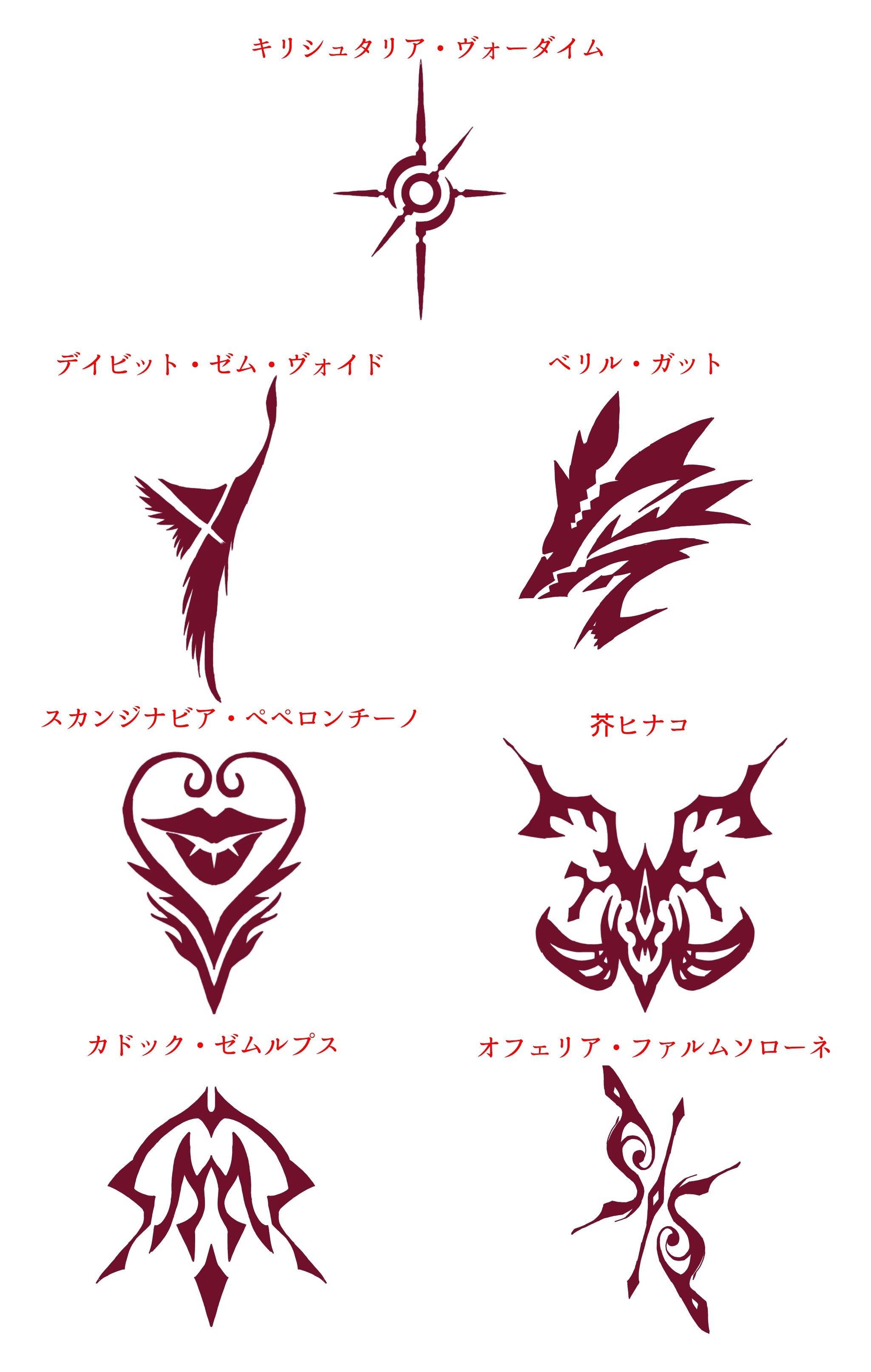 Fgo 2部aチームの令呪デザインまとめ カドックの平凡さとペペロンチーノの不気味さが目立つ Fgoまとめ速報 カドック デザイン 紋章