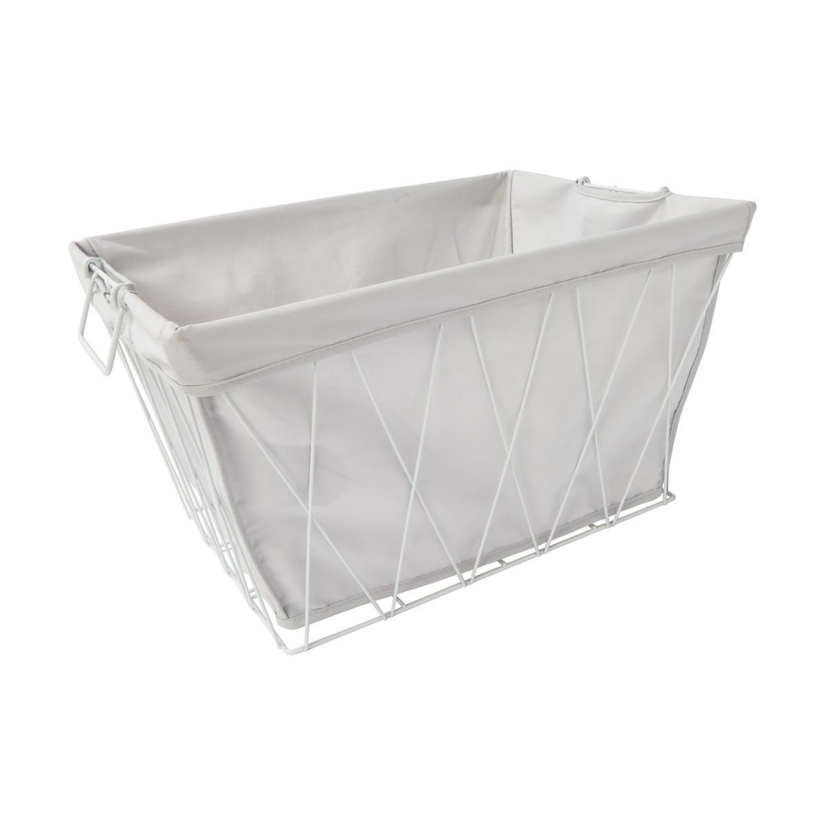 White Hamper With Liner Wire Basket With Removable Liner White Kmart Decor