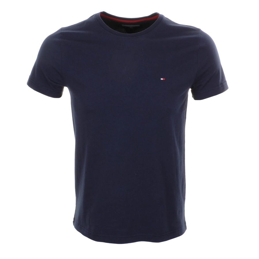 Tommy Hilfiger Mens T Shirt Classic Fit V neck Short Sleeve Tee Flag Logo New Th