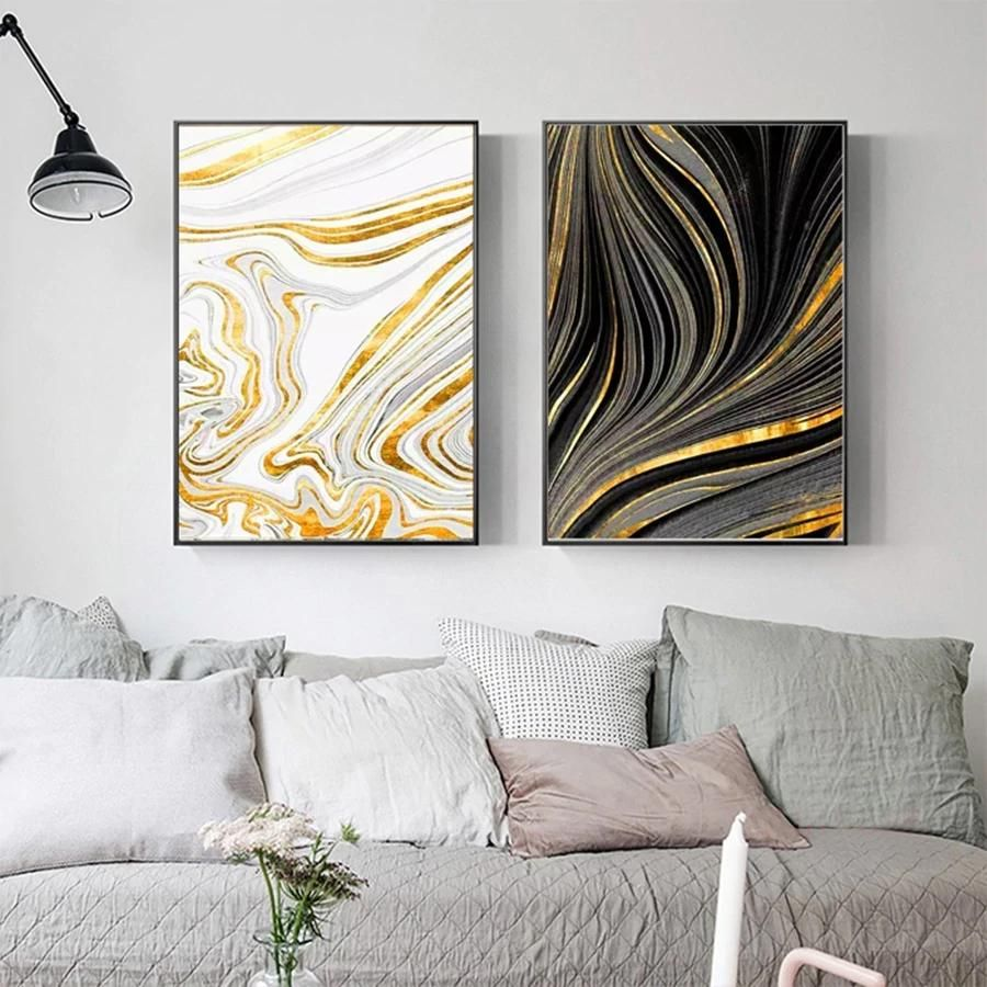Abstract Golden Marble Swirls Nordic Wall Art Fine Art Canvas Prints Modern Home Office Decor Nordicwallart Com